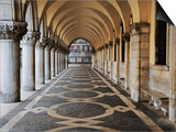 Columns and Archways Along Patterned Passageway at the Doge's Palace, Venice, Italy Poster by Dennis Flaherty