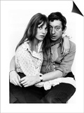 Jane Birkin Actress and Serge Gainsbourg at Home in Their Chelsea Flat Plakát