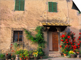 Old Home with Flowers at San Gimignano, Tuscany, Italy Art by Bill Bachmann
