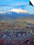 Aerial View of the Capital with Snow-Covered Mountain in Background, La Paz, Bolivia Print by Jim Zuckerman