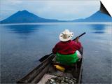 Man on Canoe in Lake Atitlan, Volcanoes of Toliman and San Pedro Pana Behind, Guatemala Prints by Keren Su