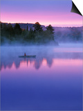 Canoeist on Lake at Sunrise, Algonquin Provincial Park, Ontario, Canada Prints by Nancy Rotenberg