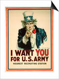 I Want You for the U.S. Army Recruitment Poster Art by James Montgomery Flagg