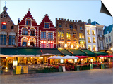 Cafes in Marketplace in Downtown Bruges, Belgium Prints by Bill Bachmann