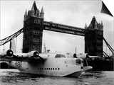Raf Suderland Flying-Boat Moored Next to Tower Bridge, Thames River, September 1950 Prints