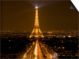 Digital Composite of Eiffel Tower and Champs-Elysees at Nighttime, Paris, France Posters by Jim Zuckerman