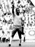 World Cup Group 3 Match in Guadalajara Mexico. 7th June 1970 England 0 Vs Brazil 1, Brazil's Pele Plakat