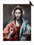 Christ Blessing ('The Savior of the World') Poster by  El Greco