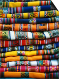 Stack of Colorful Blankets for Sale in Market, Peru Prints by Jim Zuckerman