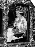 Queen Elizabeth II Riding Along in the Coronation Coach Wearing Crown and Carrying Orb Prints