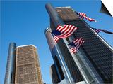 American Flags, General Motors Corporate Headquarters, Renaissance Center, Detroit, Michigan, Usa Prints by Paul Souders