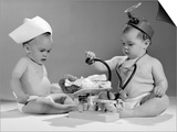 1960s Two Babies Playing Doctor and Nurse with Doll Studio Posters