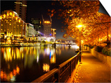 Southbank, Yarra River, and Flinders Walk, Melbourne, Victoria, Australia Print by David Wall