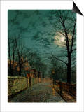 A Wet Winter's Evening Posters by John Atkinson Grimshaw
