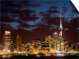 Auckland Cbd, Skytower and Waitemata Harbor, North Island, New Zealand Posters by David Wall