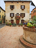 Local Restaurant in Piazza, Pienza, Italy Prints by Dennis Flaherty