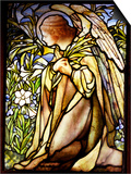 Tiffany Studios Stained Glass Window of a Kneeling Angel Prints