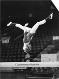 Olympic Champion Gymnast Nadia Comaneci from Romania Training at Wembley Empire Pool April 1977 Print