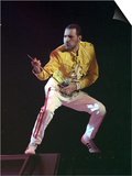 Freddie Mercury of Queen During Concert at Wembley Stadium, London, on an Air Guitar, July 1989 Posters