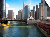 Boat and River, Chicago River, Chicago, Illinois, Usa Posters by Alan Klehr