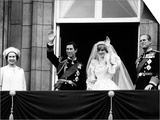 Prince Charles, Lady Diana, Queen Elizabeth II,Prince Philip on Balcony at Buckingham Palace Kunst