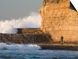 Surfer Sizing Up the Challenge, Santa Cruz Coast, California, USA Prints by Tom Norring
