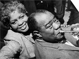Louis Armstrong Jazz Trumpeter with His Wife, 1960 Reprodukce
