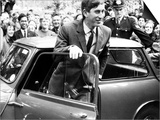 Prince Charles at Cambridge University Steps from His Mini Car on Arriving at Trinity College Poster