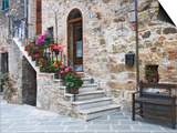 Flower-Lined Stairway, Petroio, Italy Prints by Dennis Flaherty