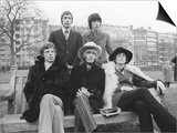 Rolling Stones Sitting on Bench in Park Prints