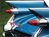 Detail Fins Rear Tail Lights Blue Cadillac Auomobile Posters
