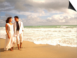 Hispanic Couple Walking Together on the Beach Poster by Bill Bachmann