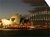 Sydney Opera House and Harbor Bridge at Night, Sydney, Australia Posters by David Wall