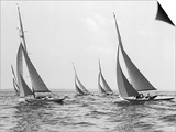 Six Meter Sailboats Leaning in Race Art by Edwin Levick