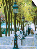 Autumn, Rue De Foyatier Steps to the Place Du Sacre Coeur, Montmartre, Paris, France Posters by Walter Bibikow