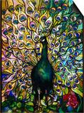 Tiffany Studios 'Peacock' Leaded Glass Domestic Window Posters