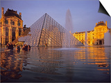 Louvre Pyramid, Paris, France Print by David Barnes