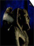 Statue of Diorite, Pharaoh Khafre with Falcon God Horus, Egyptian Museum, Cairo, Egypt Plakater af Kenneth Garrett