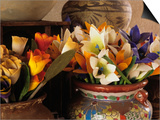 Colorful artificial flowers and pottery, Santa Fe, New Mexico, USA Prints by Jerry Ginsberg