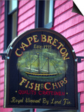 Fish and Chips Sign, Cape Breton, Sydney, Nova Scotia, Canada Print by Greg Johnston
