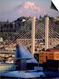 Downtown and Mt. Rainier, Tacoma, Washington Poster by Charles Crust