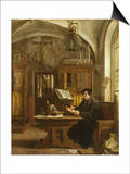 Martin Luther Translating the Bible, Wartburg Castle, 1521 Kunst af Eugene Siberdt