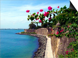 Waterfront Walkway, Fort San Felipe Del Morro, San Juan, Puerto Rico, USA, Caribbean Prints by Miva Stock