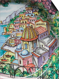 Painting of Positano on Ceramic Plate, Positano, Amalfi Coast, Campania, Italy Art by Walter Bibikow