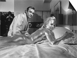 Shirley Eaton and Sean Conner Pictured on Set During Filming Covered in Gold Paint Prints