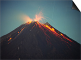 Arenal Volcano Erupting at Night, Costa Rica Prints by Charles Sleicher