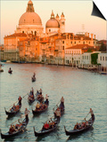 Sunset View of Gondolas in the Grand Canal and the Santa Maria Della Salute, Venice, Italy Prints by Janis Miglavs