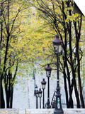 Autumn, Rue De Foyatier Steps to the Place Du Sacre Coeur, Montmartre, Paris, France Poster by Walter Bibikow