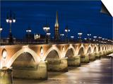 Eglise St-Michel, Garonne River, Pont De Pierre Bridge, Bordeaux, Aquitaine Region, France Prints by Walter Bibikow