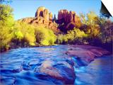 Cathedral Rock Reflecting on Oak Creek, Sedona, Arizona, USA Posters by Christopher Talbot Frank